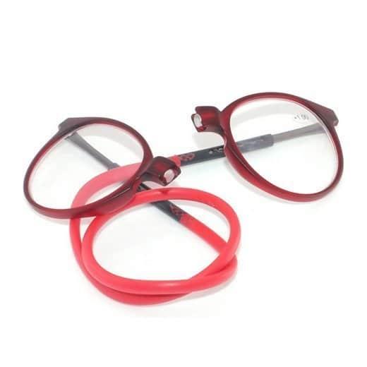 gafas con iman redondas color vinotinto