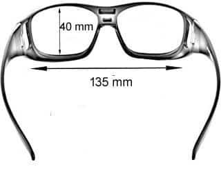 medidas para las gafas debajo de fitover
